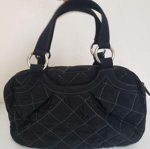 Vera Bradley Black Quilted Bag Grey Stitching